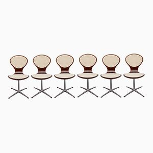 Vintage Rosewood Swivel Chairs, Set of 6