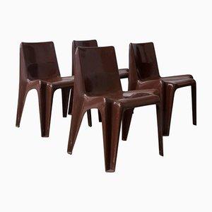 Braune Mid-Century Stühle von Vico Magistretti für Artemide, 1969, 4er Set