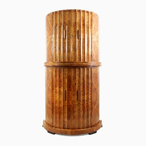 Fluted Cocktail Cabinet in Burr Walnut by Epstein, 1930s