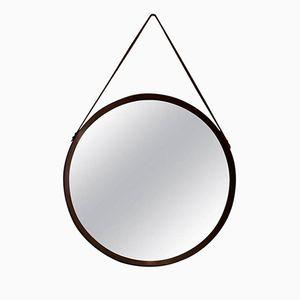 Vintage Circular Teak Mirror