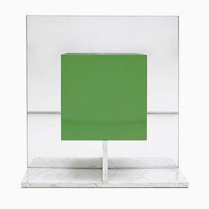 Meuble à Miroir Vert avec Socle en Marbre par Pieter De Bruyne, 1974