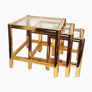 Italian Gold Plated Nesting Tables with Cut Glass, 1980s