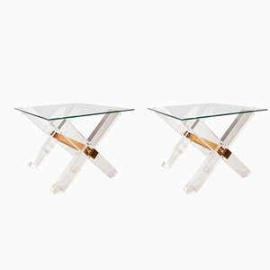 Lucite and Golden Brass Side Tables from Maison Jansen, 1980s, Set of 2