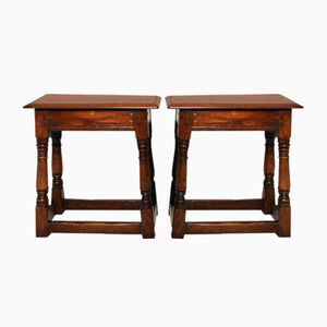 Antique Solid Oak Side Tables, Set of 2