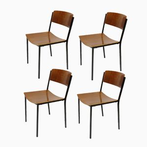 Vintage Industrial Stacking Chairs from Mauser, Set of 4