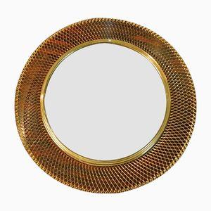 Mid-Century Round Brass Wire Mesh Wall Mirror