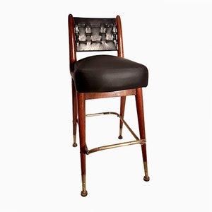 Mahagoni Croupier Stuhl mit Leder & Moleskin, 1950er