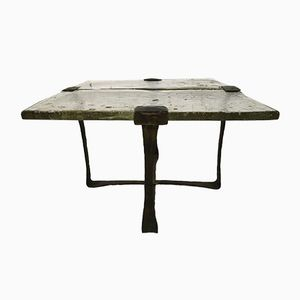 Brutalist Side Table in Forged Bronze, 1970s