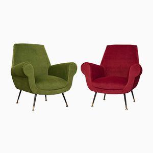 Sessel in Grün & Himbeerrot von Gigi Radice, 1950er, 2er Set