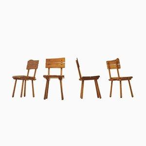 Brutalistische Französische Mid-Century Esszimmerstühle aus Eiche, 4er Set