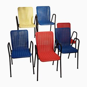 Bar Chairs in Plastic and Wrought Iron from Fantasia, 1960s, Set of 6