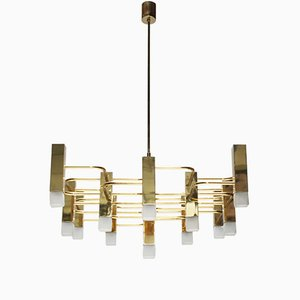 Large Brass Chandelier by Gaetano Sciolari for S.A. Boulanger Belgium, 1970s