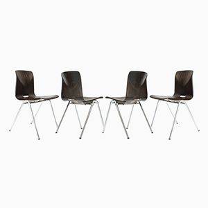 S25 Dutch Industrial School Chairs from Galvanitas, 1960s, Set of 4