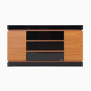 Black Lacquer and Teak Chest of Drawers by Pierre Cardin, 1970s