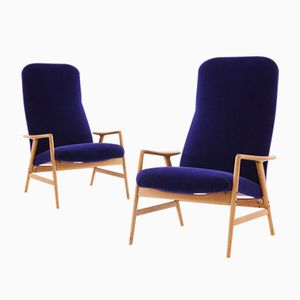 Velvet and Wood Lounge Recliner Armchairs by Alf Svennson for Fritz Hansen, 1950s, Set of 2