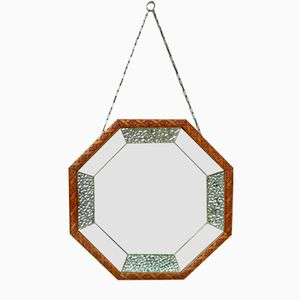 Octagonal Wood-Framed Wall Mirror, 1960s