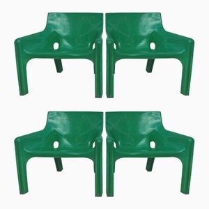 Vintage Lounge Vicario Chairs by Vico Magistretti for Artemide, Set of 4