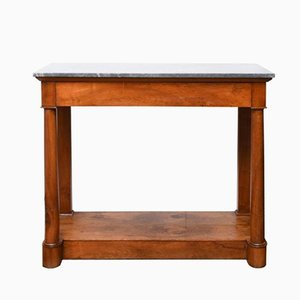 French Empire Walnut and Marble Console