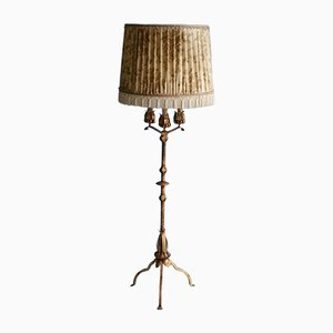Gilt Metal Floor Lamp with Faux Candles, 1960s