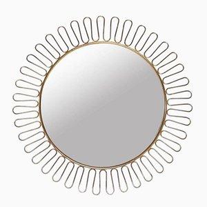 Mid-Century Brass Sun Mirror, 1950s