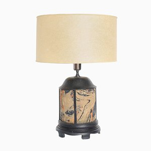 Antique Hand-Painted Fabric & Wood Table Lamp