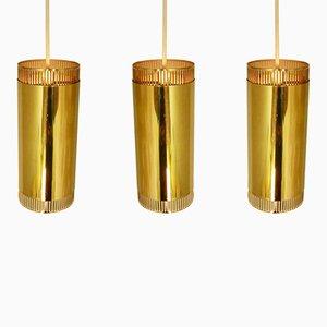Scandinavian Brass Pendant Lights, 1960s, Set of 3