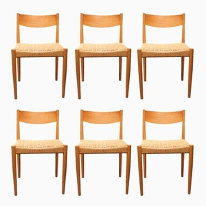 Dining Chairs in Oak by Poul M. Volther for Frem Røjle, 1960s, Set of 6