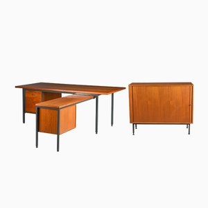 Mid-Century Danish Desk & Filing Cabinet from Nipu, 1960s, Set of 2