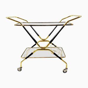 Mid-Century Italian Serving Bar Cart by Cesare Lacca, 1950s