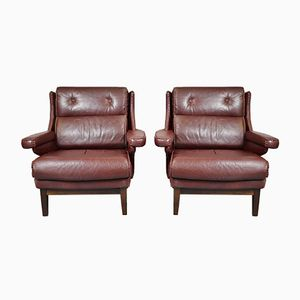 Mid-Century Burgundy Leather Lounge Chairs, 1970s, Set of 2