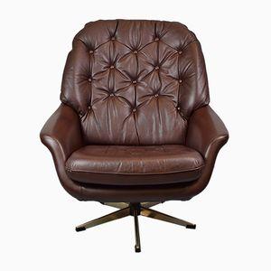 Mid-Century Dark Brown Leather Swivel Lounge Chair, 1960s
