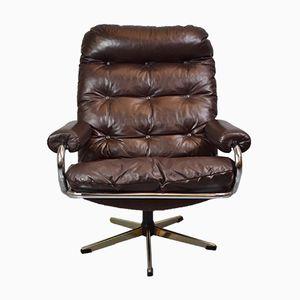 Mid-Century Chrome Swivel Lounge Chair, 1970s