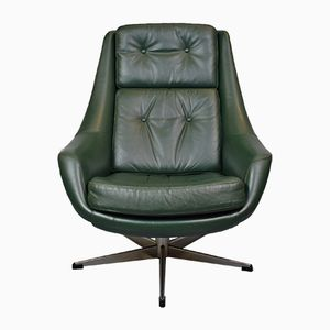 Mid-Century Danish Green Leather Swivel Lounge Chair by H.W. Klein for Bramin