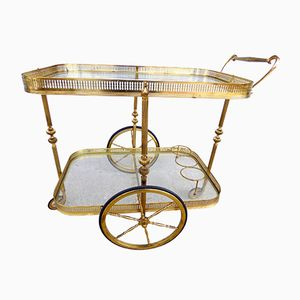 Vintage Brass Serving Trolley from Maison Bagues, 1960s