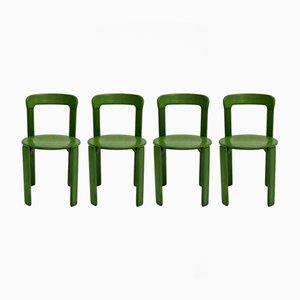 Grüne Esszimmerstühle von Bruno Rey für Kusch & Co, 1970er, 4er Set
