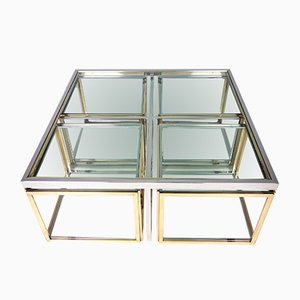 Large Vintage Coffee Table with Nesting Tables by Maison Charles