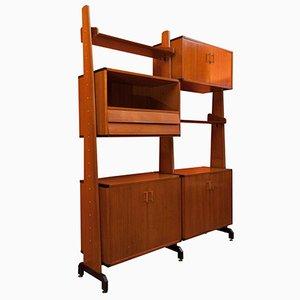Italian Adjustable Wooden Shelving Unit, 1960s