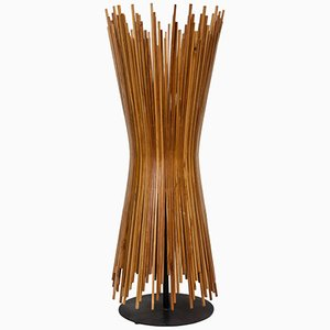 Danish Wooden Stick Table Lamp, 1960s
