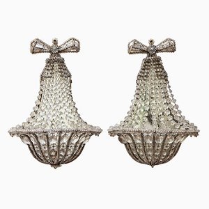 French Crystal Sconces, 1920s, Set of 2