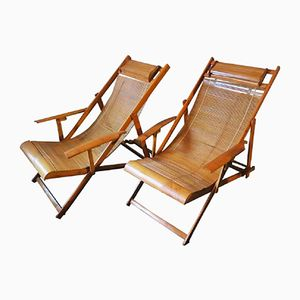 Japanese Bamboo Ship's Deck Chairs, 1950s, Set of 2