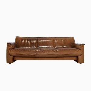 Vintage Cognac Leather Three-Seater Sofa from Leolux