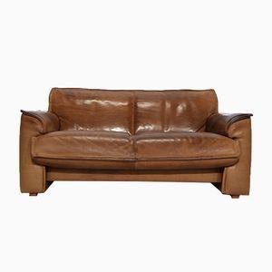 Cognacfarbenes Vintage Zwei-Sitzer Ledersofa von Leolux