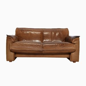 Vintage Cognac Leather Two-Seater Sofa from Leolux