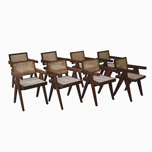 Office Chairs by Pierre Jeanneret, 1955, Set of 8