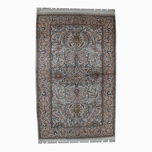 Vintage Handmade Silk Indian Indo-Tabriz Rug, 1950s