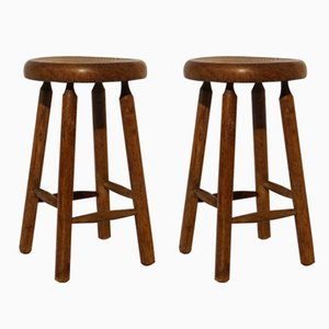 Vintage Walnut Stools, Set of 2