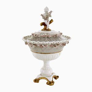 Capodimonte Porcelain Pedestal Candy Vessel, 1950s