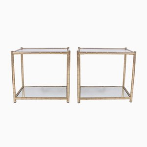 Vintage Gilt Metal Side Tables, Set of 2