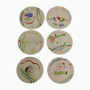Vintage Plates by Stig Lindberg for Gustavsberg, Set of 6