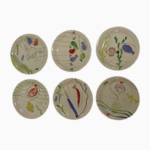 Vintage Hand Painted Löja Plates by Stig Lindberg for Gustavsberg, Set of 6